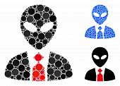 Alien Boss Mosaic Of Round Dots In Different Sizes And Shades, Based On Alien Boss Icon. Vector Roun poster
