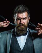 Barber Scissors And Straight Razor, Barber Shop, Suit. Vintage Barbershop, Shaving. Portrait Beard M poster