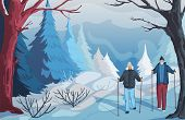 Winter Landscape With Snowy Hills, Bushes, Trees And Firs. Senior Couple Hiking And Nordic Walking I poster