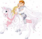 pic of prince charming  - Royalty bride and groom on white horse - JPG