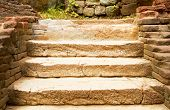 Step Stone Staircase In The Ruins Of The Ancient Cave City, Old Stairs Close Up, Stone Staircase Wit poster