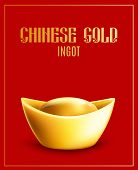 Gold Ingot Symbol Of Wealth And Riches In China 3d Realistic Vector Illustration. poster