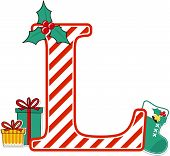 Capital Letter L With Red And White Candy Cane Pattern And Christmas Design Elements Isolated On Whi poster
