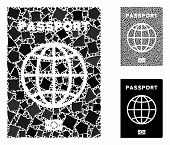 Passport Mosaic Of Raggy Pieces In Various Sizes And Color Tones, Based On Passport Icon. Vector Irr poster
