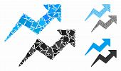 Trends Arrows Mosaic Of Rough Elements In Various Sizes And Color Tones, Based On Trends Arrows Icon poster