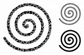 Spiral Mosaic Of Bumpy Pieces In Various Sizes And Color Tints, Based On Spiral Icon. Vector Tuberou poster