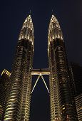 stock photo of petronas towers  - Petronas Twin Towers at night on March 19 2012 in Kuala Lumpur - JPG