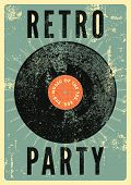 Retro Party Typographical Vintage Grunge Style Poster With Vinyl Disk. Retro Vector Illustration. poster