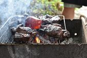 Chuck Roll Steak. Grilled Chuck Roll. Cooking Meat By A Professional Cook On A Bonfire In The Fresh  poster