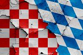 Depiction Of Croatian Checkerboard Flag And Bavaria Flag poster