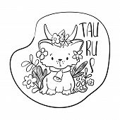 Taurus Astrological Zodiac Sign With Cute Cat Character. Taurus Vector Illustration On White Backgro poster