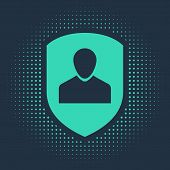 Green User Protection Icon Isolated On Blue Background. Secure User Login, Password Protected, Perso poster