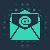 Green Mail And E-mail Icon Isolated On Blue Background. Envelope Symbol E-mail. Email Message Sign.  poster