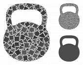 Weight Iron Mosaic Of Unequal Parts In Variable Sizes And Color Hues, Based On Weight Iron Icon. Vec poster