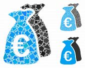 Euro Funds Mosaic Of Bumpy Parts In Various Sizes And Color Hues, Based On Euro Funds Icon. Vector R poster