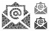 Email Mosaic Of Inequal Pieces In Variable Sizes And Color Tinges, Based On Email Icon. Vector Unequ poster