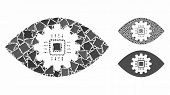 Cyborg Eye Lens Mosaic Of Tremulant Parts In Various Sizes And Shades, Based On Cyborg Eye Lens Icon poster