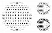 Abstract Dotted Sphere Mosaic Of Inequal Items In Different Sizes And Color Tinges, Based On Abstrac poster