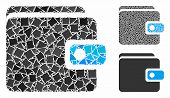 Wallet Mosaic Of Tuberous Parts In Different Sizes And Color Hues, Based On Wallet Icon. Vector Ragg poster