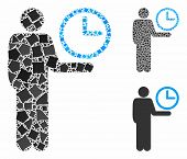 Waiter Mosaic Of Unequal Elements In Variable Sizes And Color Tints, Based On Waiter Icon. Vector Un poster