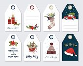 Christmas And New Year Greeting Gift Tags Set . Hand Draw Holiday Label Collection. Winter Badge Des poster