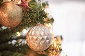 Holiday Christmas Wallpaper With Xmas Ball. Christmas Card Background With Christmas Tree And Festiv poster