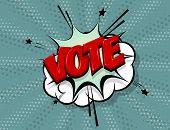 Boom Vote 2020 Usa Comic Text Speech Bubble Pop Art. Cartoon Halftone Vector Background. Retro Comic poster