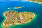 Croatia, Adriatic Sea, Aerial Drone View Of The Amazing Heart Shaped Island Of Galesnjak, Beautiful  poster