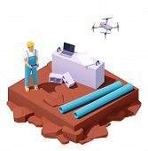 Vector Isometric Drone Survey At Construction Site. Male Engineer Working With Drone. Laptop And Con poster