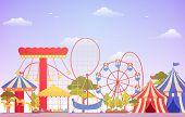 Amusement Park Circus Carnival Festival Fun Fair With Firework Landscape Illustration poster