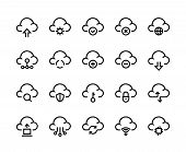 Cloud Computing Line Icons. Network Data Transfer Download Sync And Upload, Internet Platform. Vecto poster