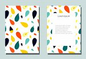 Trendy Cover With Graphic Elements - Abstract Drop Shapes. Two Modern Vector Flyers In Avant-garde   poster