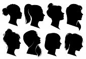 Woman Heads In Profile. Beautiful Female Faces Profiles, Black Silhouette Outline Avatars, Anonymous poster
