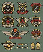 Military Army Badges. Patches, Soldier Chevrons With Ribbon And Star. Vintage Airborne Labels, T-shi poster