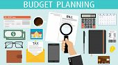Budget Planning. A Person Plans His Financial Expenses For A Month. The Concept Of Budget Planning T poster