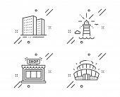 Buildings, Lighthouse And Shop Line Icons Set. Arena Stadium Sign. Town Apartments, Navigation Beaco poster