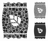 Seed Pack Mosaic Of Trembly Items In Different Sizes And Shades, Based On Seed Pack Icon. Vector Rag poster