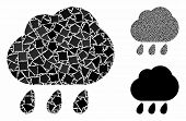 Rain Mosaic Of Uneven Items In Different Sizes And Color Tints, Based On Rain Icon. Vector Uneven Do poster