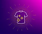 Clean T-shirt Line Icon. Halftone Pattern. Laundry Shirt Sign. Clothing Cleaner Symbol. Gradient Bac poster