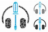 Headphones Tuning Screwdriver Mosaic Of Irregular Pieces In Variable Sizes And Color Tones, Based On poster
