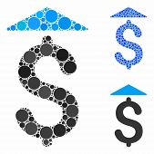 Dollar Up Mosaic Of Round Dots In Variable Sizes And Color Hues, Based On Dollar Up Icon. Vector Rou poster