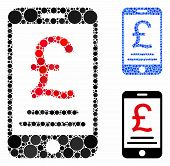 British Pound Mobile Payment Mosaic Of Filled Circles In Different Sizes And Shades, Based On Britis poster