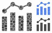 Charts Mosaic Of Small Circles In Various Sizes And Color Tinges, Based On Charts Icon. Vector Small poster