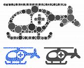 Helicopter Composition Of Filled Circles In Various Sizes And Color Tinges, Based On Helicopter Icon poster