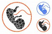 Pregnancy Composition Of Round Dots In Different Sizes And Color Tones, Based On Pregnancy Icon. Vec poster