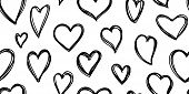 Heart Seamless Pattern. Love Cute Valentines Day Background. Hand Drawn, Doodle Heart Repeat Ornamen poster