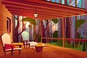 Country Or Village House In Forest With Wooden Coffee Table And Comfortable, Soft Armchairs On Roofe poster