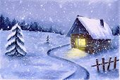 Watercolor Winter Snowy Night Landscape. Cute Night Snowfall Scene Outdoor. Country House With Light poster