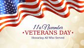 Happy Veterans Day Banner, Waving American Flag On Golden Bokeh Background. Us National Day November poster