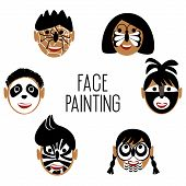 Faces Of Children In Black And White Face Painting. On The Faces Are Painted Animals A Panda, A Butt poster